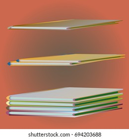 Stack of colored books with empty covers.