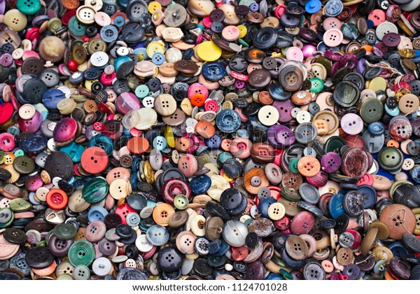 Stack Colored Buttons On Display On Stock Photo (Edit Now
