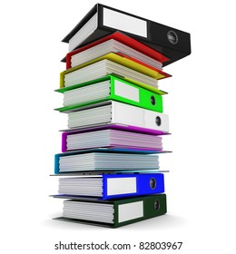 a stack of colored folders for office papers