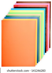 stack of colored paper for creative work isolated on a white background