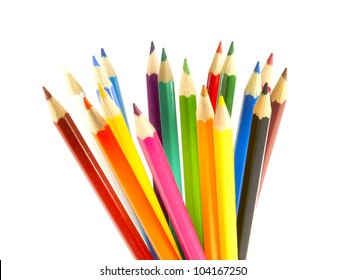 a stack of colored pencils sharpened Isolated on white background