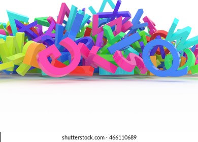 Stack of colorful alphabets letters from A to Z for education or learning conceptual, isolated on white background, 3D rendered image