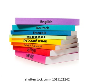 The stack of colorful books