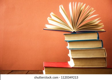 Stack of colorful books. Education background. Back to school.
