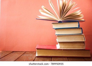 Stack of colorful books. Education background.