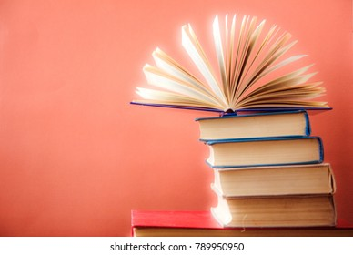 Stack of colorful books , Education business concept. Copy space for text