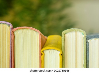 A stack of colorful books. Education, knowledge, learn, study and wisdom concept. Horizontal layout of childrens books. Front of books with colorful covers.