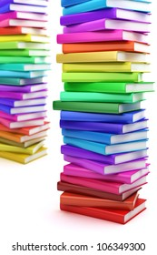 Stack of colorful books on white background, side view