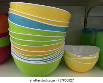 Stack of colorful bowl selling in the market, melamine kitchen ware