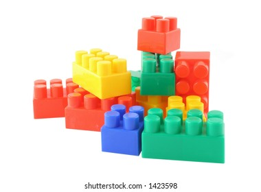 stack of colorful building blocks - pure white background, no trademarks