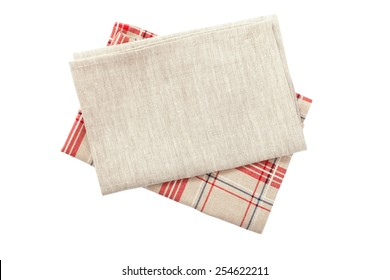 Stack of colorful dish towels isolated on white
