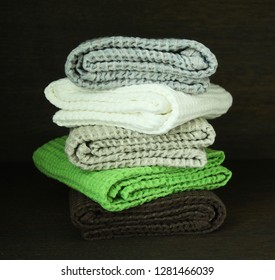 Stack of colorful linen towels