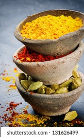 Stack of colorful mix of spices