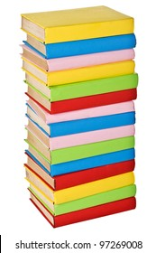 Stack of colorful real books. Isolated on white background. side view