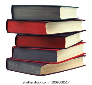 Stack of colorful real books on white background, isolated. Pile of books.