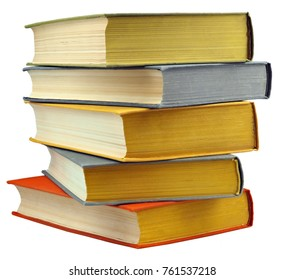 Stack of colorful real books on white background, isolated