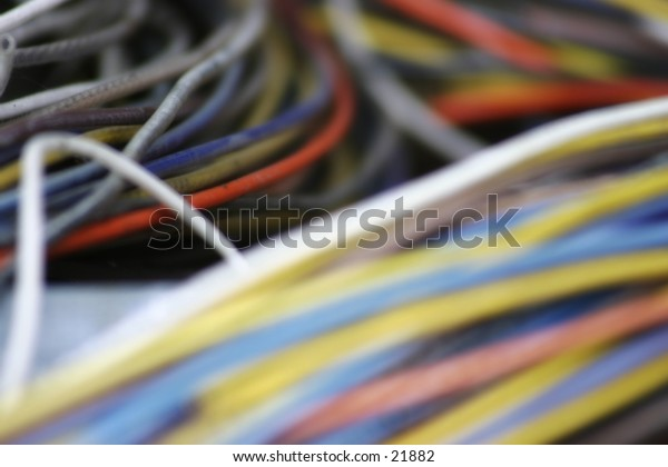 Stack of colorful wires at a factory. Selective focus.