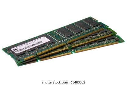 Stack of computer memory modules isolated on a white background
