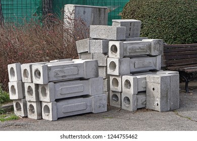 Stack of concrete pillars columns construction material