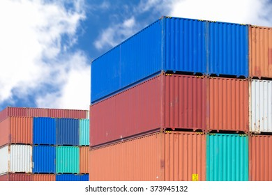 Stack of container shipping at dockyard area