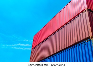 Stack of containers box, Cargo freight ship for import export lo
