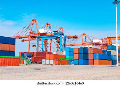 Stack of containers box, Cargo freight ship for import export logistics business.