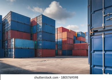 Stack of Containers Cargo Ship Import/Export in Harbor Port, Cargo Freight Shipping of Container Logistics Industry. Nautical Transport Distribution Yard, Business Commercial Dock and Transportation.  - Shutterstock ID 1805769598