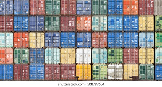Stack of containers in a harbor - Shutterstock ID 508797634