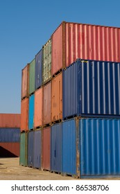 Stack of containers for leasing in the port of Thessaloniki