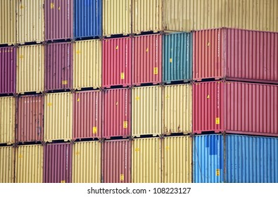Stack of containers on a container vessel