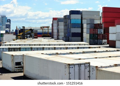 Stack of containers at the port of Auckland, New Zealand