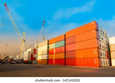 Stack of containers at port in Chile