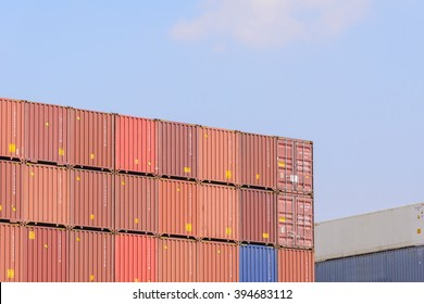 the stack of containers at the ship yard