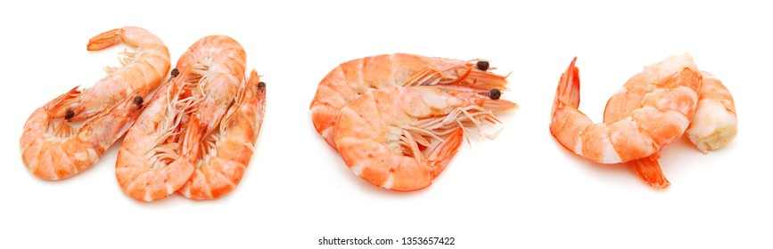 Stack cooked unshelled tiger shrimps isolated on white
