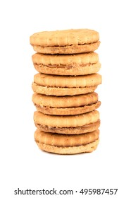 Stack of cookies with condensed milk inside isolated on white background