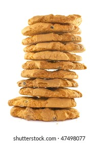 stack of cookies isolated on a white background
