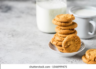 A Stack of Cookies with Milk, copy space for your text