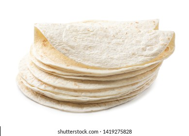 Stack of corn tortillas on white background. Unleavened bread