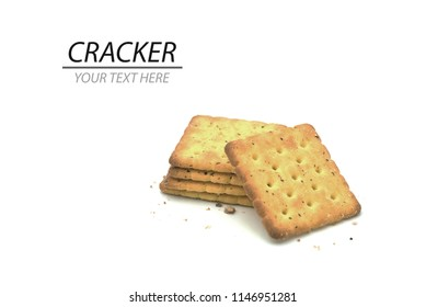 stack of cracker cookie isolated on white