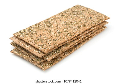 Stack of crispbread isolated on white