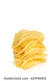stack of crispy potato chips isolated on white background  close-up
