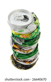 Stack of crushed cans ready for recycling on white background