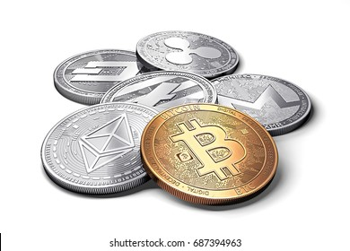 stack of cryptocurrencies: bitcoin, ethereum, litecoin, monero, dash, and ripple coin together, isolated on white, 3D rendering