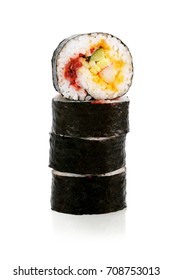 Stack of Cut Sushi Rolls on White Background