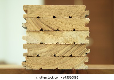Stack of cutted solid wood
