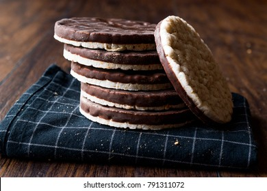Stack Of Dark Chocolate Covered Rice Cakes or Corn Crackers
