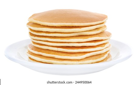 Stack of delicious pancakes on plate isolated on white