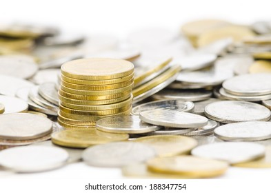 stack of different coins stock photo  taken closeup