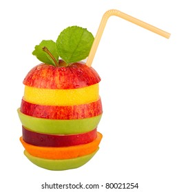 stack of different fruit slices on white background