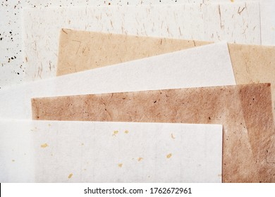 Stack of different handmade paper